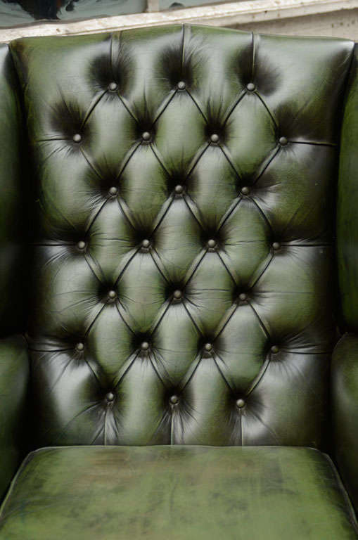 Pair of English Green Leather Wingback Chairs image 5