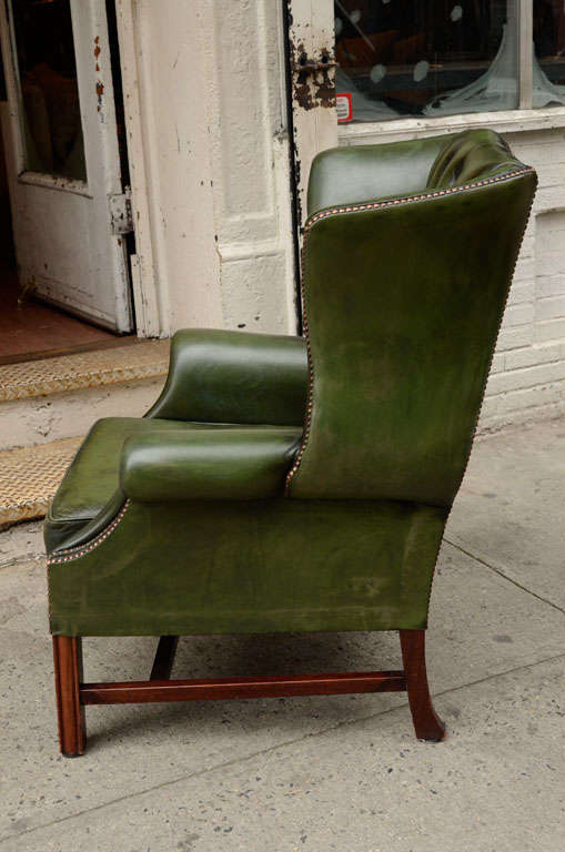 Pair of English Green Leather Wingback Chairs image 6