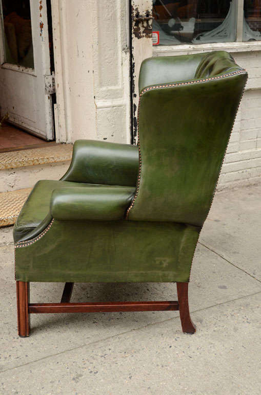 Pair of English Green Leather Wingback Chairs image 7
