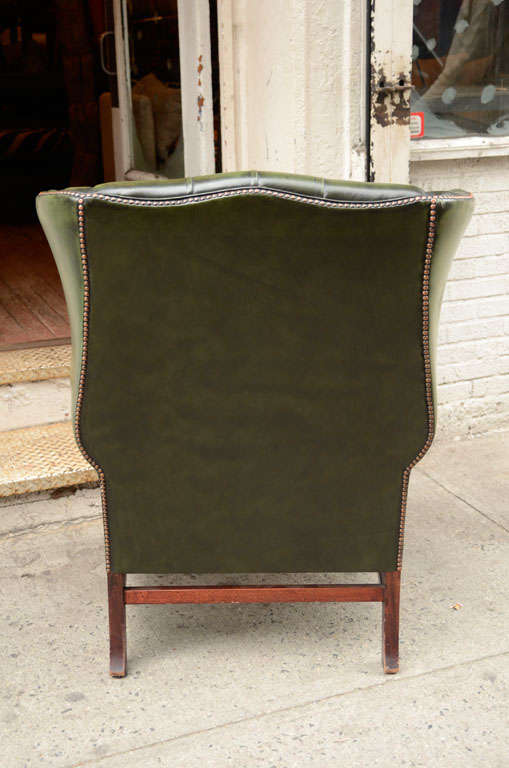 Pair of English Green Leather Wingback Chairs image 8