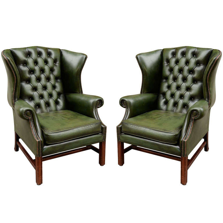 Pair of English Green Leather Wingback Chairs