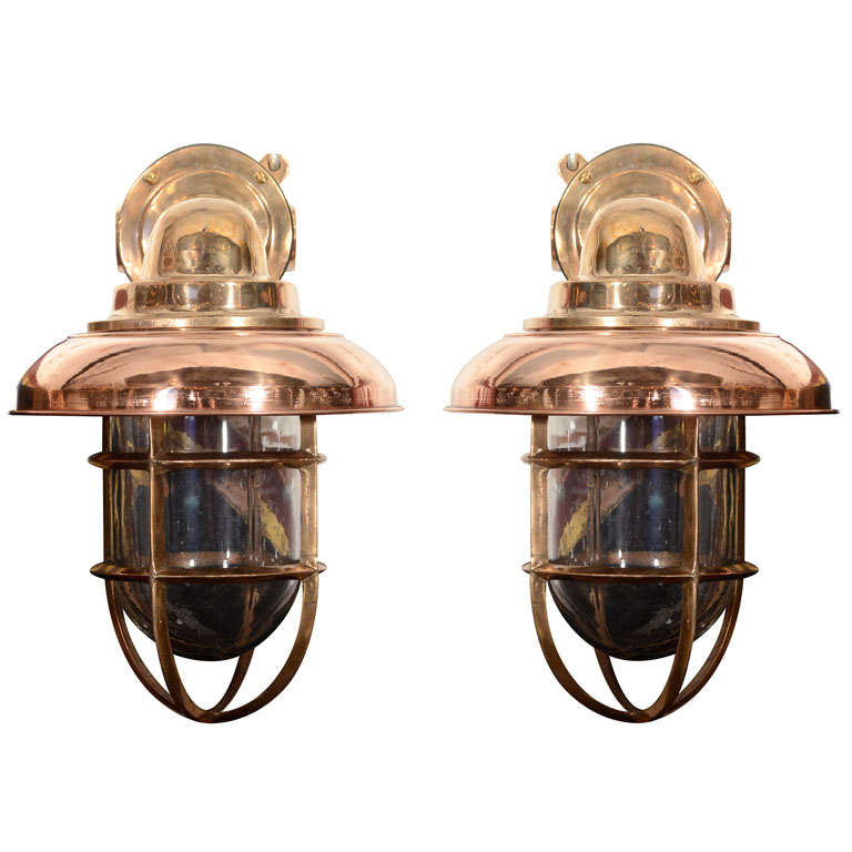 Wall Sconces Nautical: Pair Of Copper And Brass Nautical Sconces At 1stdibs