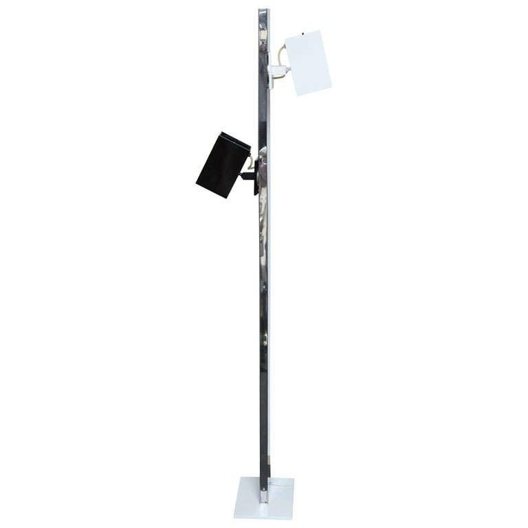 Italian Modernist Black & White Floor Lamp