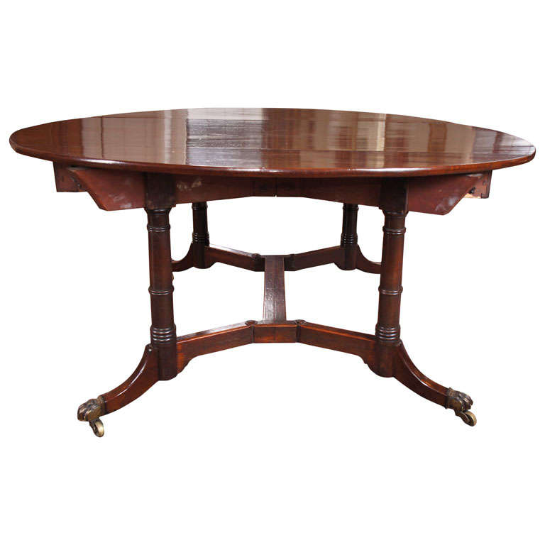 Regency Mahogany Drop Leaf Dining Table At 1stdibs