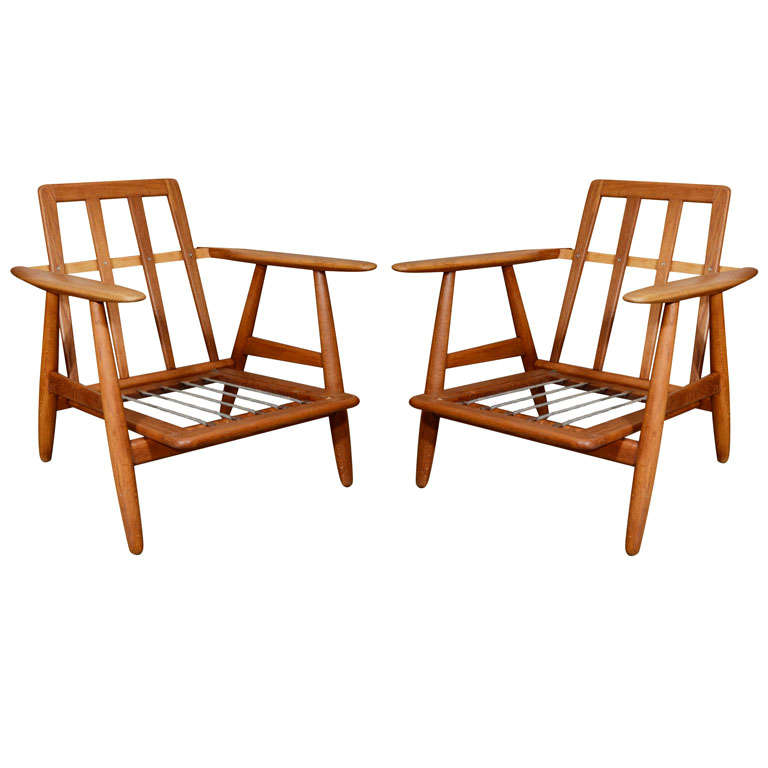 Pair Hans Wegner Oak Cigar Lounge Chairs at 1stdibs