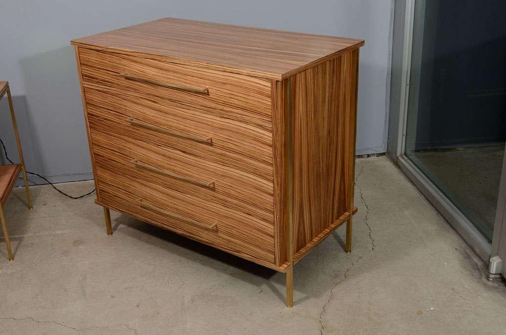 regeneration zebra wood dresser with brass details at 1stdibs