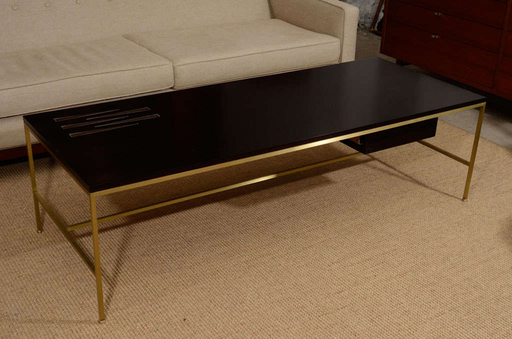 Ebony And Brass Coffee Table With Inlaid Pamela Sunday Tiles 2