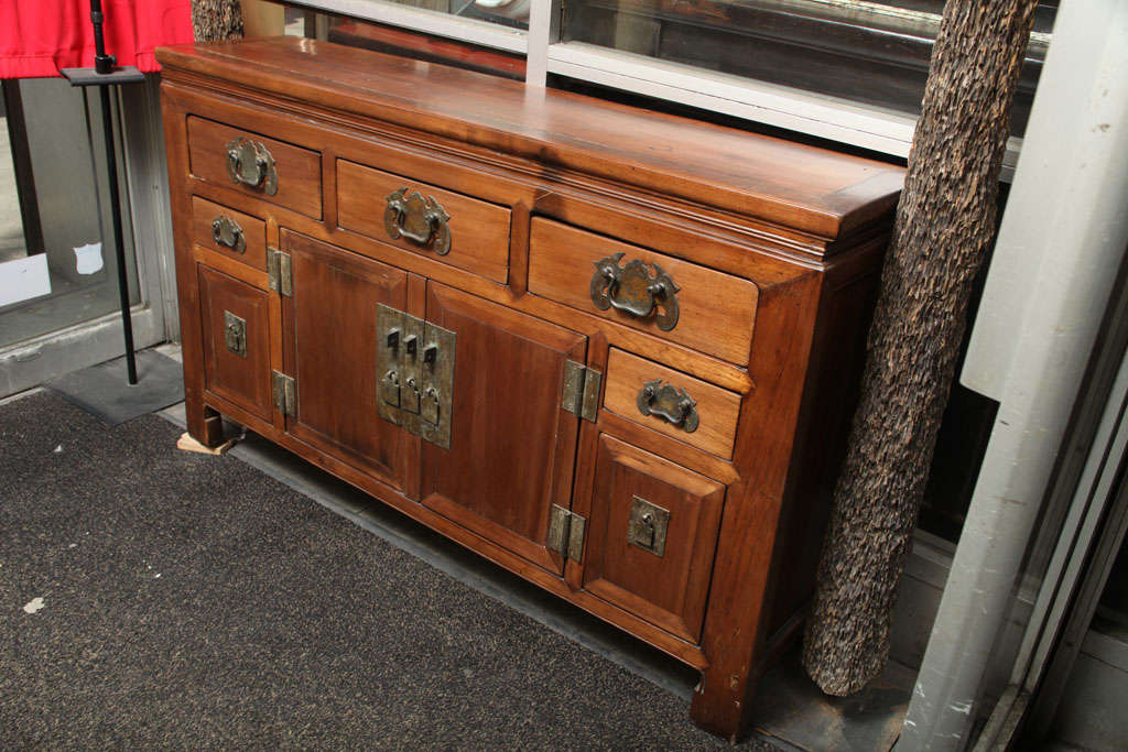 Chinese Narrow Elmwood Sideboard With Brass Hardware From Southern China, 19th Century  For Sale