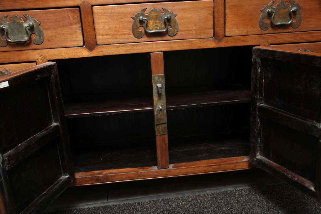 Narrow Elmwood Sideboard With Brass Hardware From Southern China, 19th Century  For Sale 2