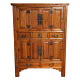 Large Late 19th Century Pine Cabinet With Original Butterfly Hardware From China