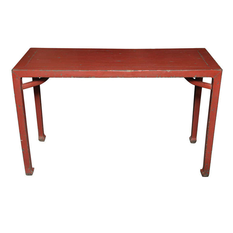 Antique Linen Covered Red Lacquered Elmwood Console Table, 19th Century China