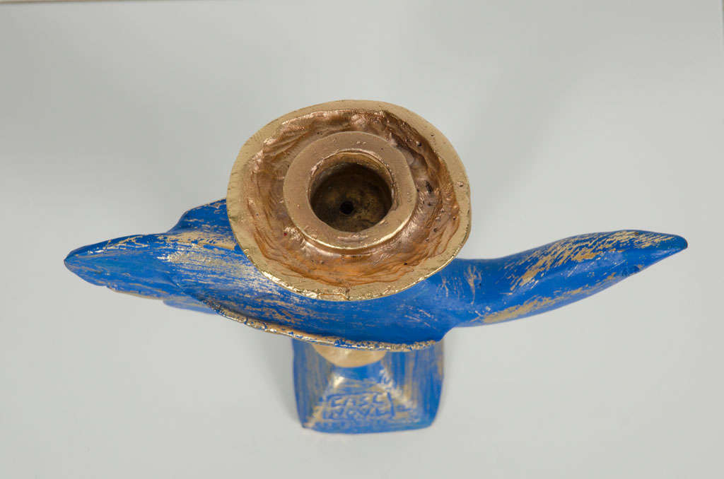 20th Century Gilt Bronze Dove Candlestick by Pierre Casenove for Fondica For Sale