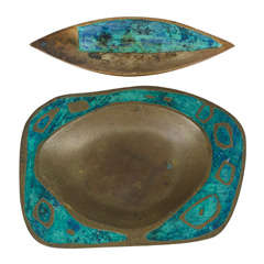 Set of Brass and Ceramic Inlay Trays by Pepe Mendoza