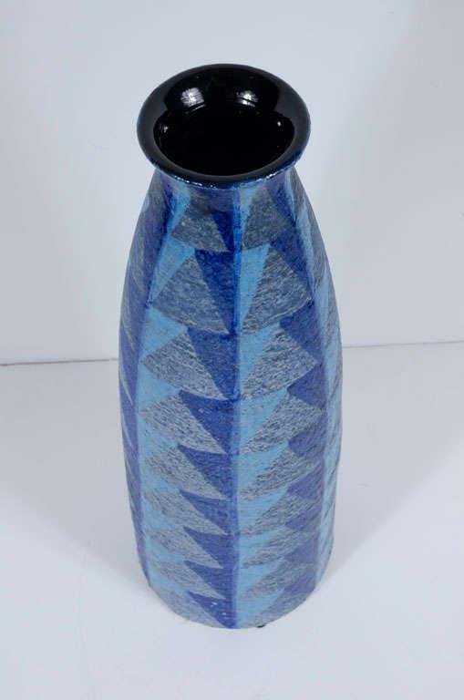 Italian Tall Blue Geometric Designed Ceramic Vase by Bitossi For Sale