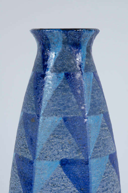 Tall Blue Geometric Designed Ceramic Vase by Bitossi In Excellent Condition For Sale In New York, NY