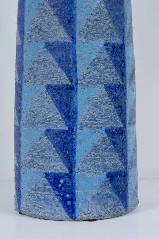 Tall Blue Geometric Designed Ceramic Vase by Bitossi For Sale 2