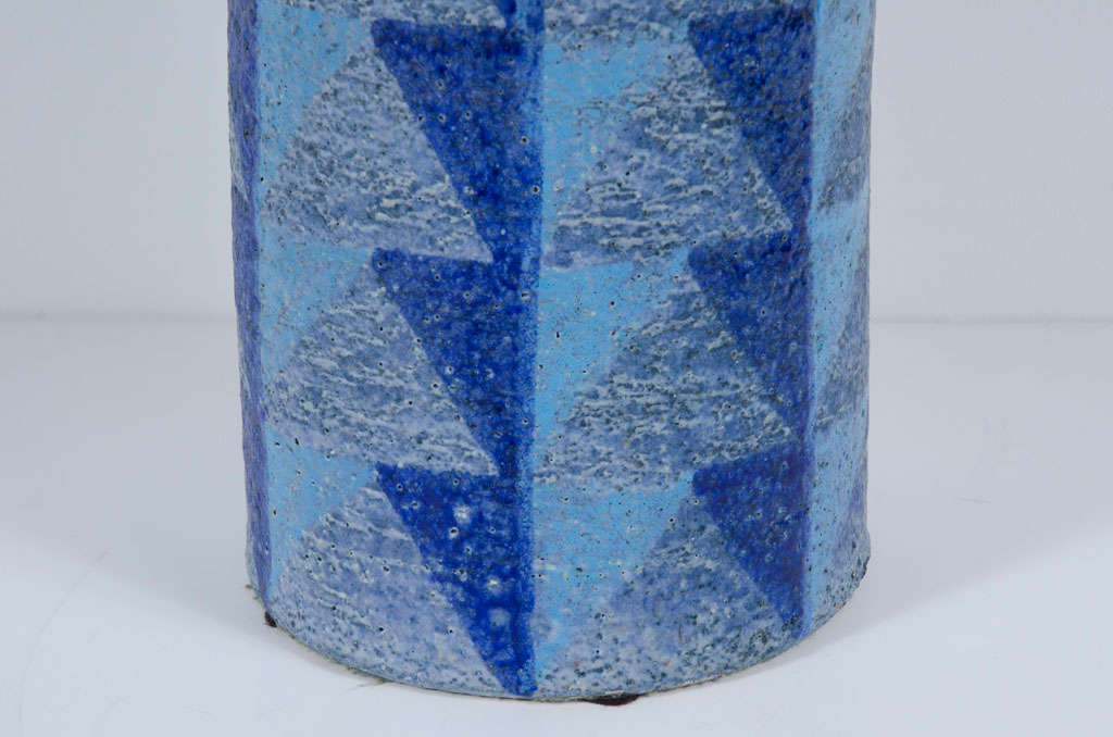 Tall Blue Geometric Designed Ceramic Vase By Bitossi For