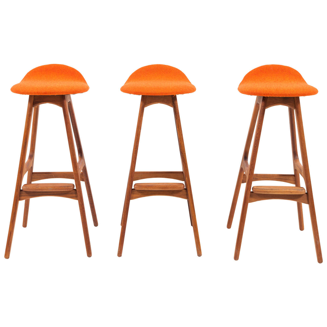 Erik buch set of three bar stools in teak at 1stdibs - Erik buch bar stool ...