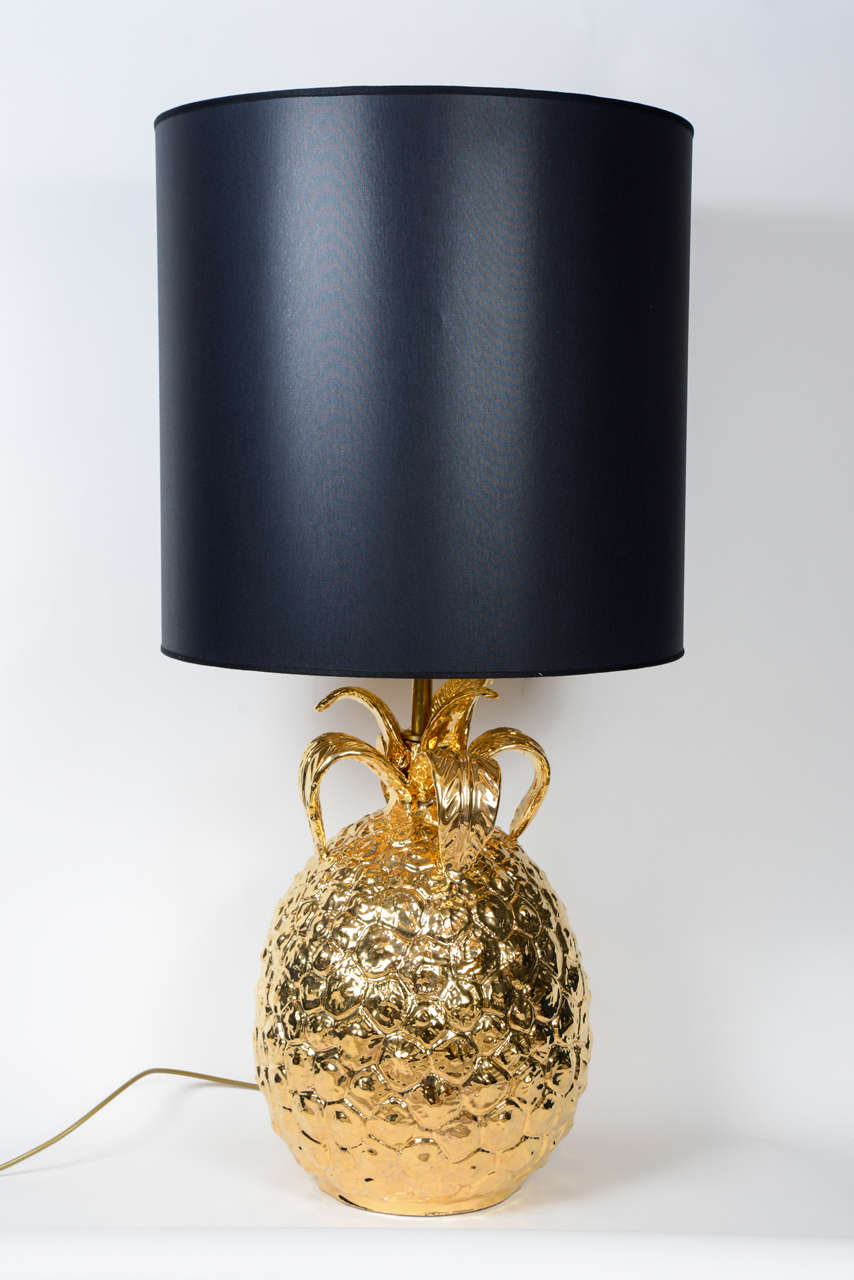 imposing pair of golden ceramic pineapple lamps 2 - Pineapple Lamp