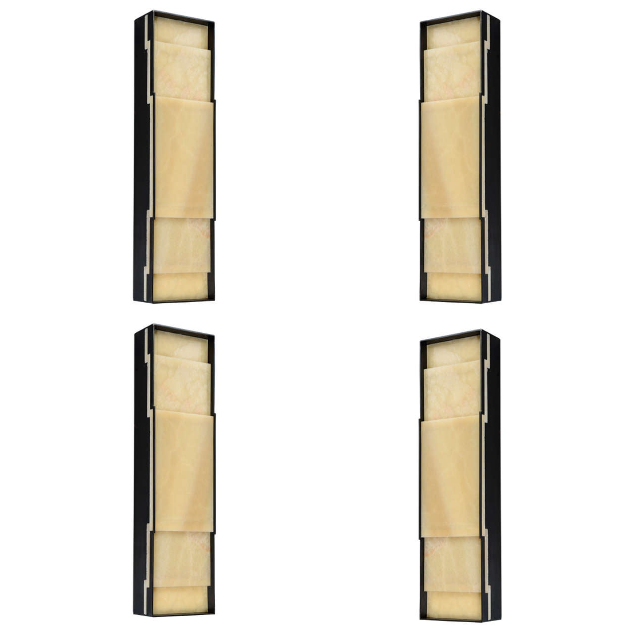 Set of Four Refined Onyx and Iron Wall Sconces