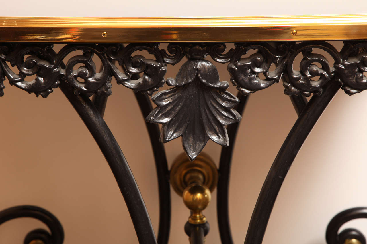 Painted 19th Century French Table on Wheels with a Modern Black-Glass Top For Sale