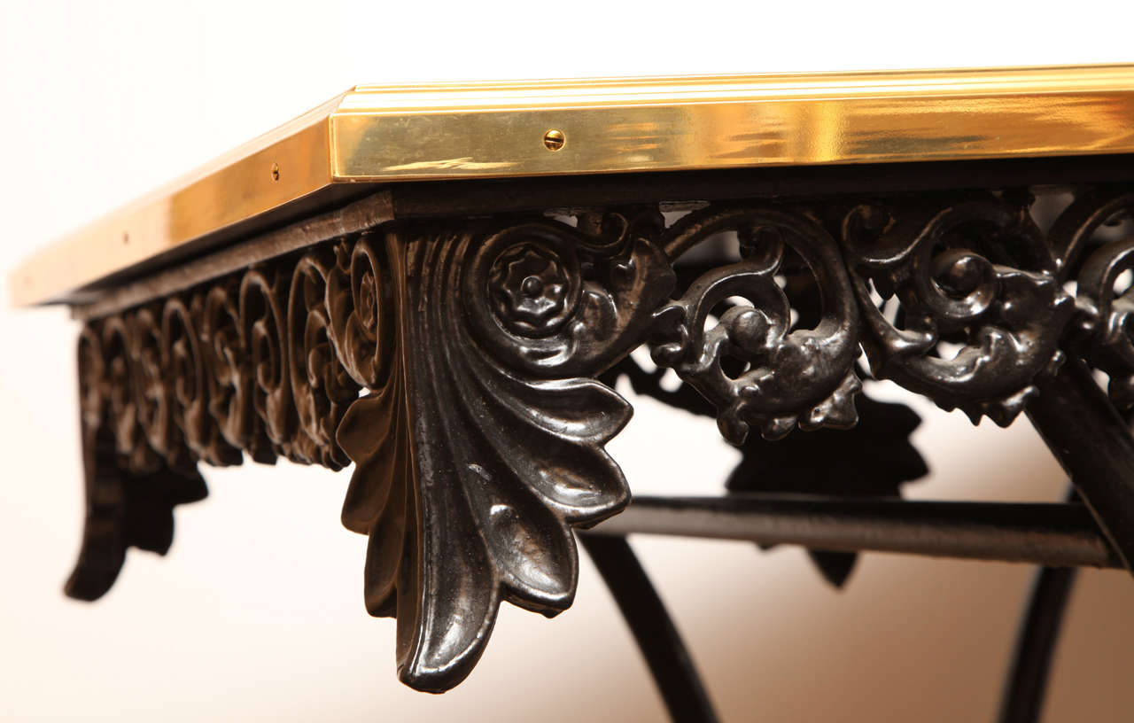 Brass 19th Century French Table on Wheels with a Modern Black-Glass Top For Sale