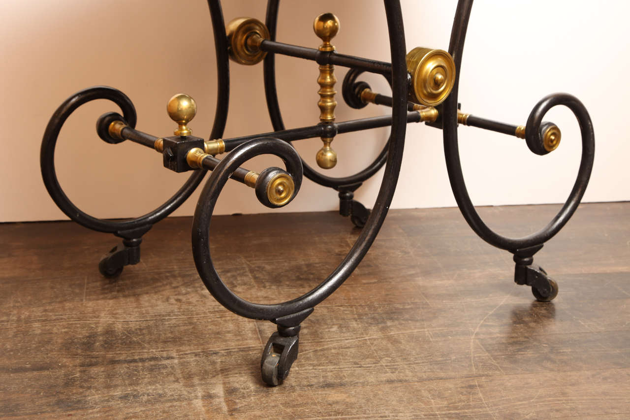 19th Century French Table on Wheels with a Modern Black-Glass Top For Sale 1