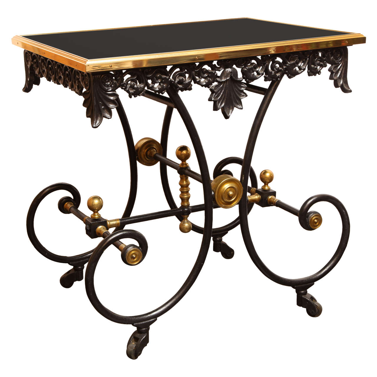 19th Century French Table on Wheels with a Modern Black-Glass Top