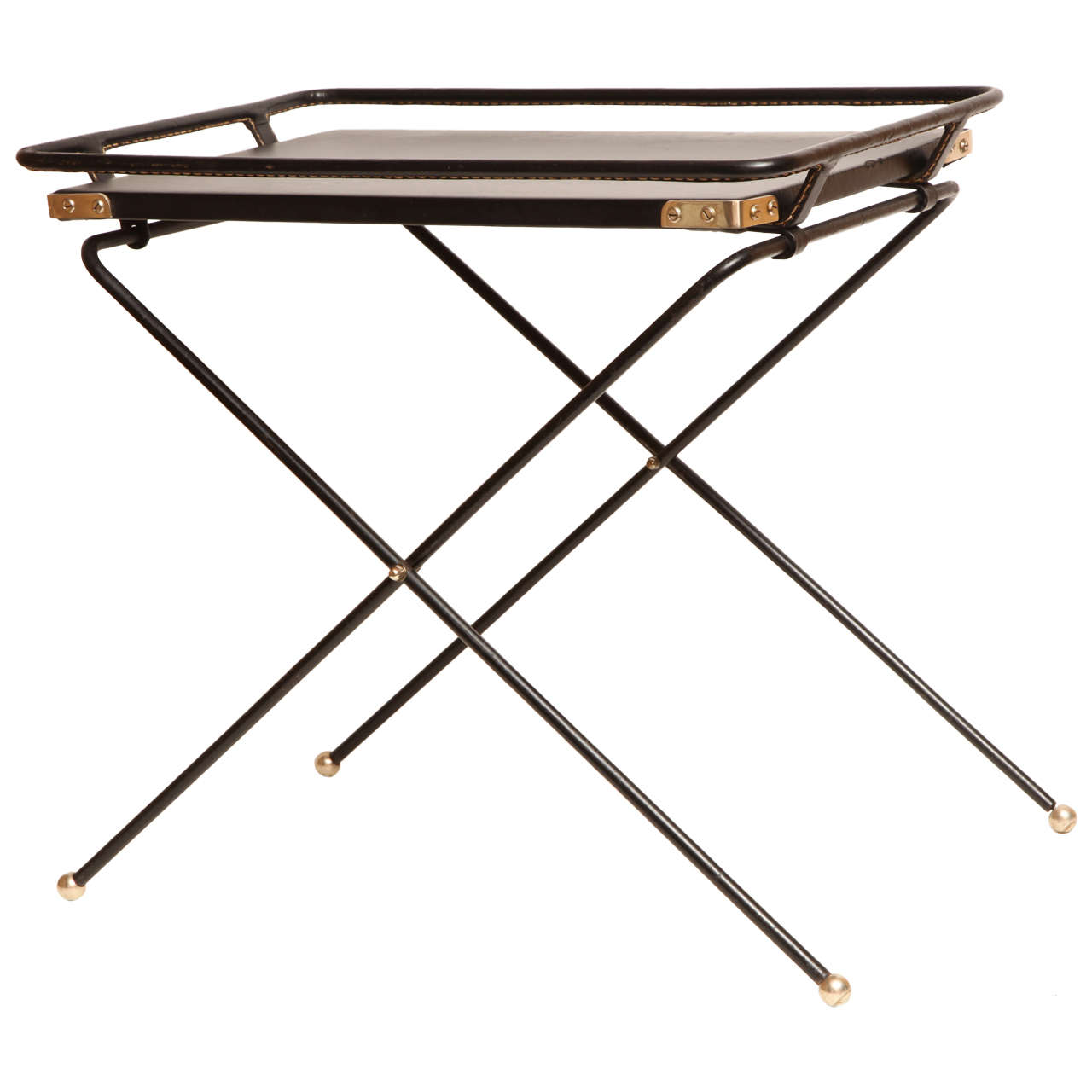 French 1960s Folding Tray Table in Black Leather at 1stdibs