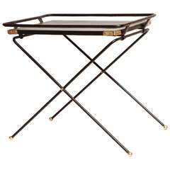French 1960s Folding Tray Table in Black Leather