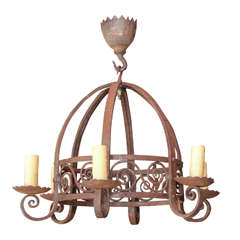 19th Century French Wrought Iron Chandelier