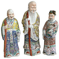 Set of Three Porcelain Chinese Immortals Figures