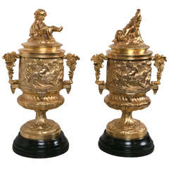 Pair of Gilt Bronze Covered Urns