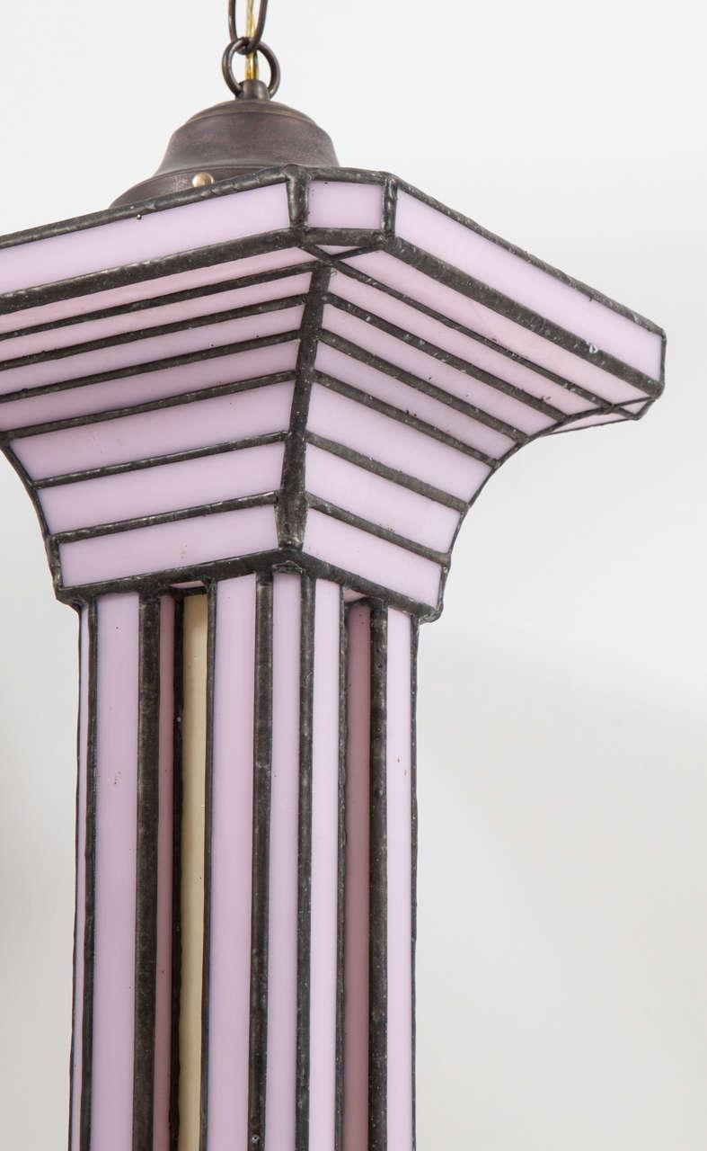 American Set of Three Leaded Glass Pendant Light Fixture by Adam Kurtzman For Sale