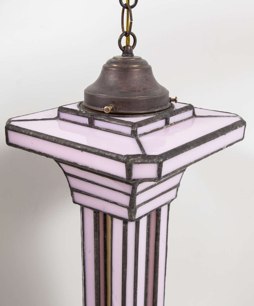 Stained Set of Three Leaded Glass Pendant Light Fixture by Adam Kurtzman For Sale