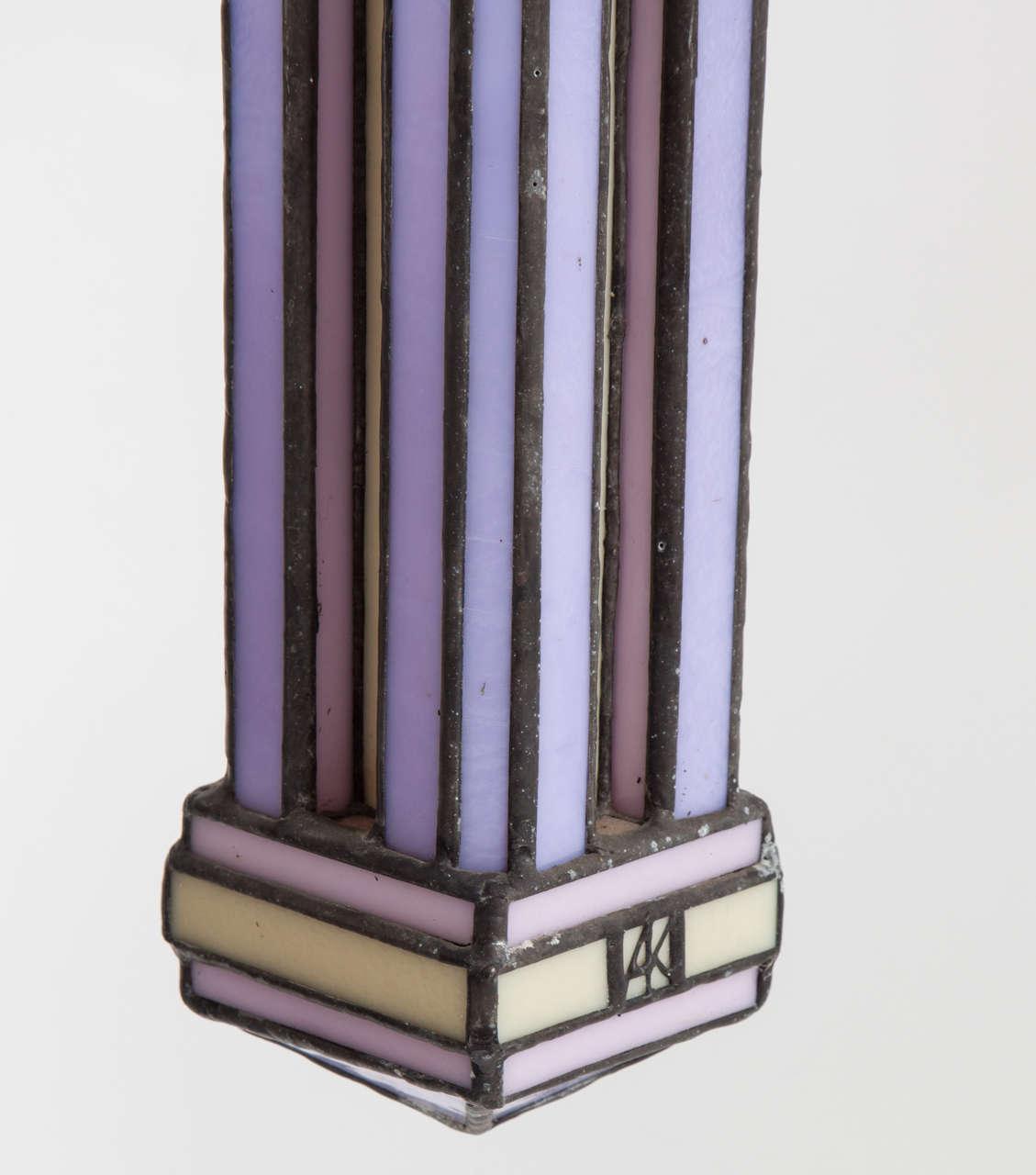 Late 20th Century Set of Three Leaded Glass Pendant Light Fixture by Adam Kurtzman For Sale