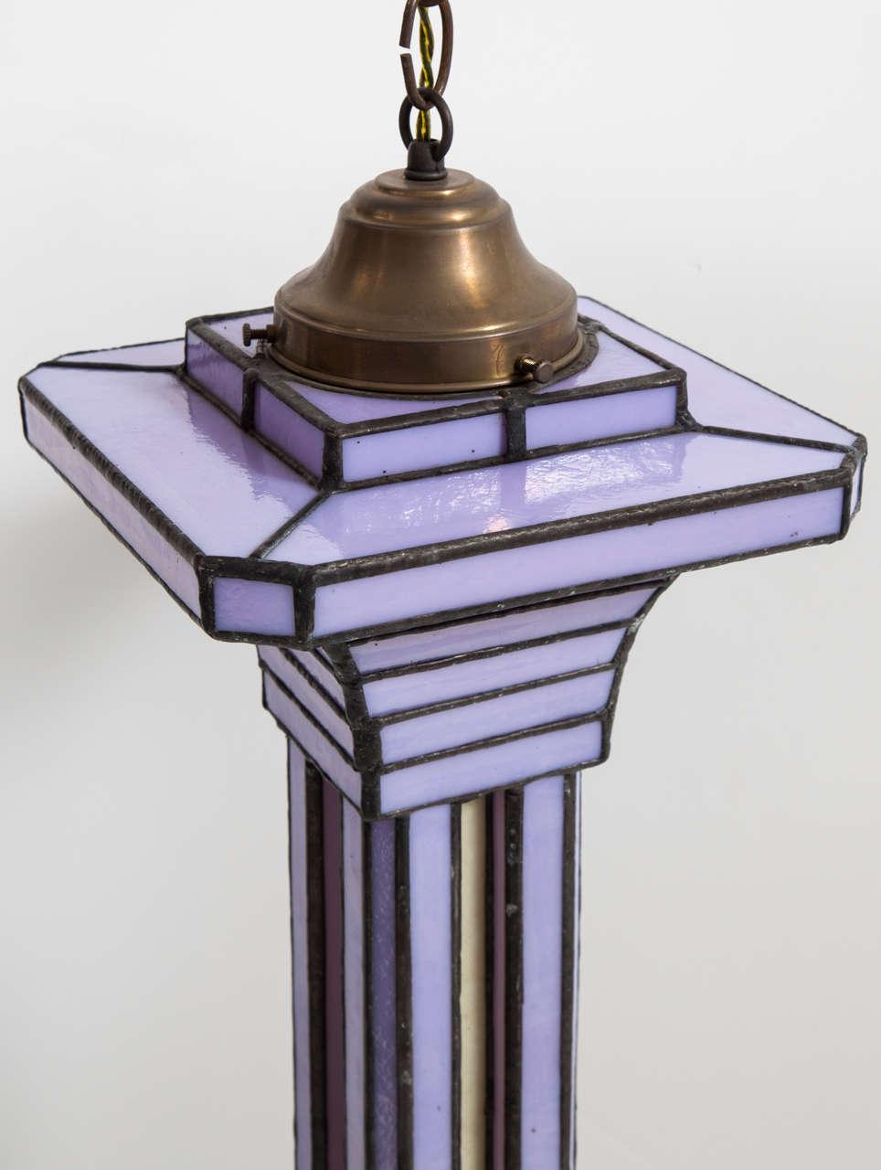Set of Three Leaded Glass Pendant Light Fixture by Adam Kurtzman For Sale 1