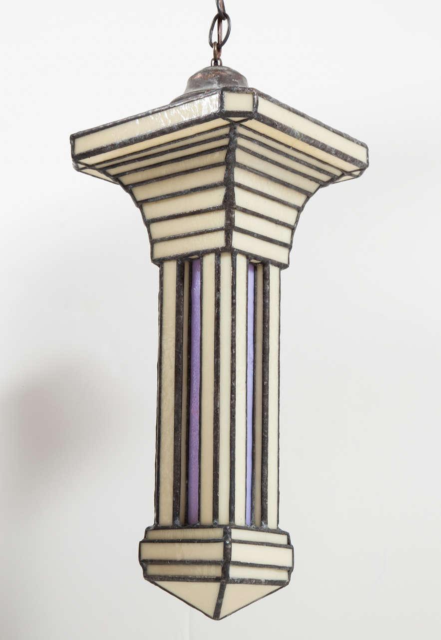 Set Of Three Leaded Glass Pendant Light Fixture By Adam