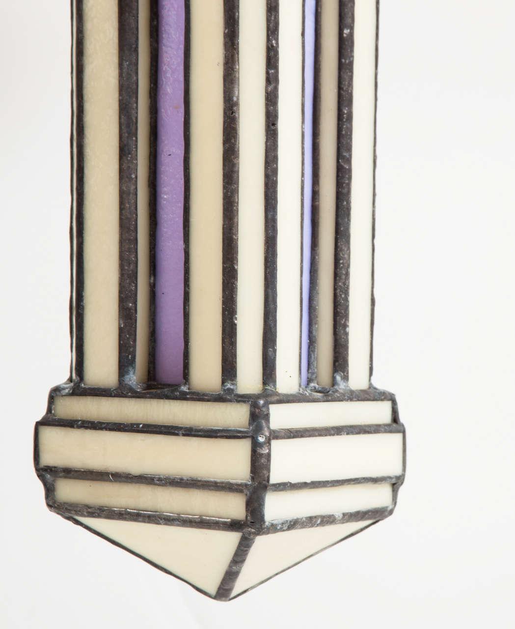 Set of Three Leaded Glass Pendant Light Fixture by Adam Kurtzman For Sale 3