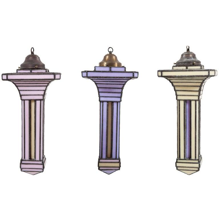 Set of Three Leaded Glass Pendant Light Fixture by Adam Kurtzman For Sale