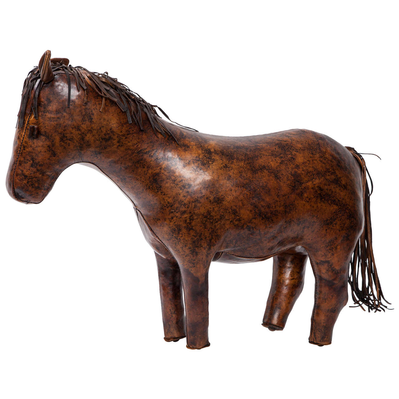 brown leather horse ottoman 1 - Brown Leather Ottoman