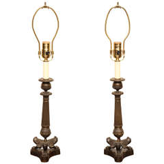 Pair of 19th Century French Bronze Candlesticks Converted to Lamps