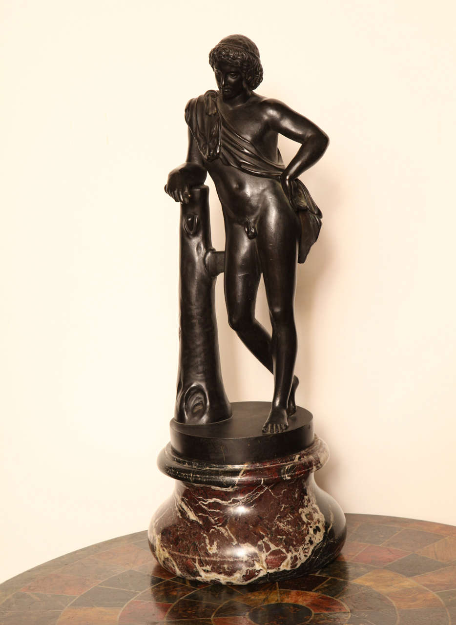 19th Century Bronze Figure of a Youth on a Marble base