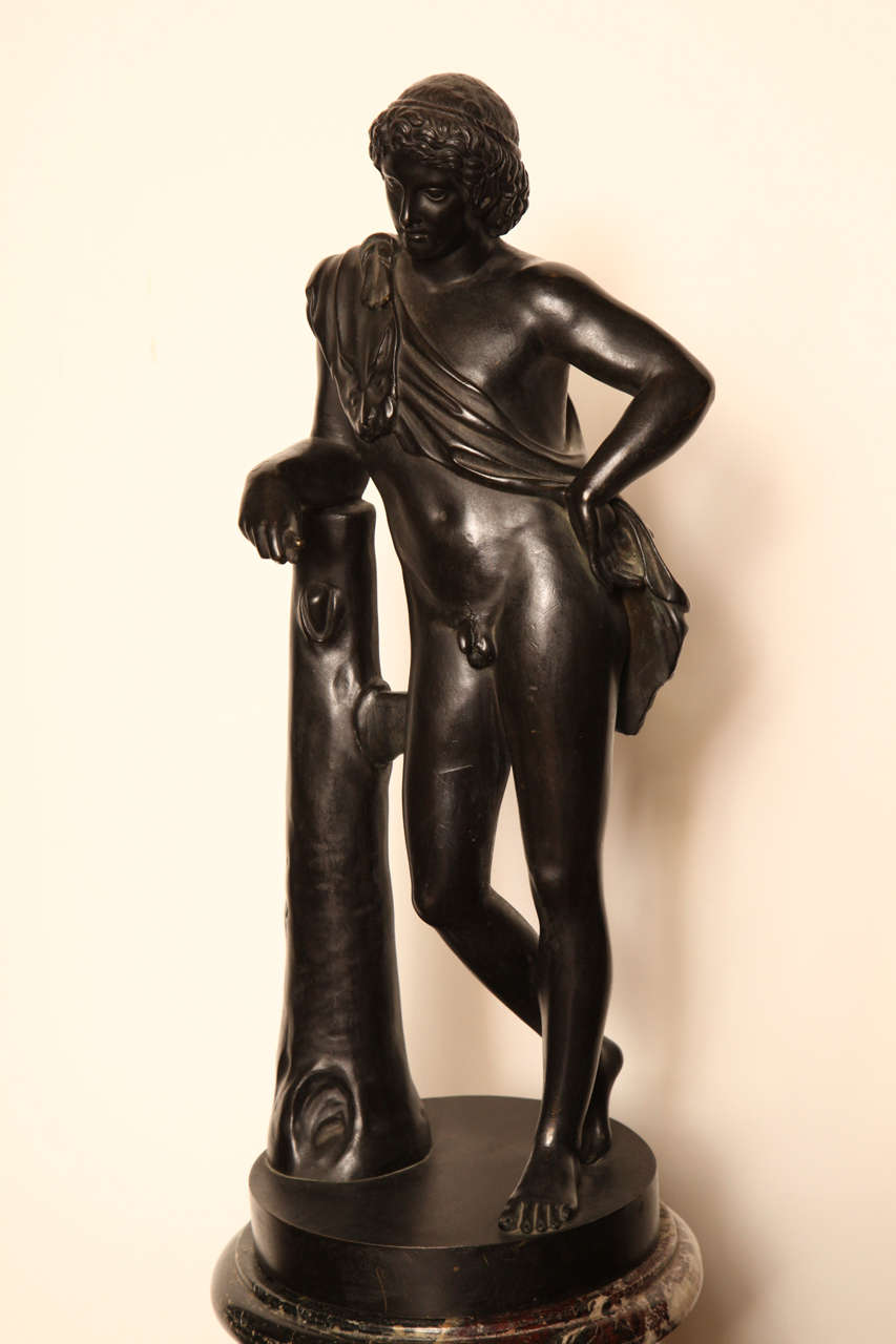 Italian 19th Century Bronze Youth on a Marble Base For Sale