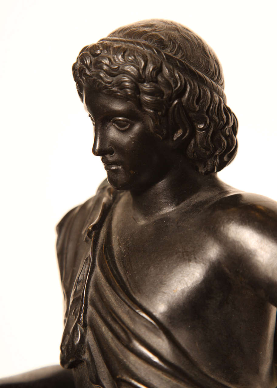 19th Century Bronze Youth on a Marble Base In Good Condition For Sale In New York, NY