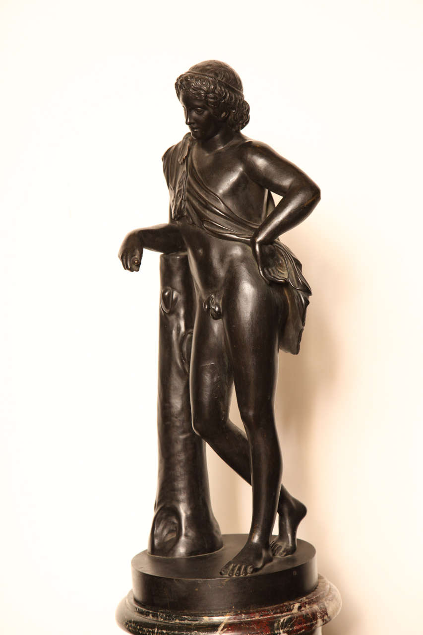 19th Century Bronze Youth on a Marble Base For Sale 1