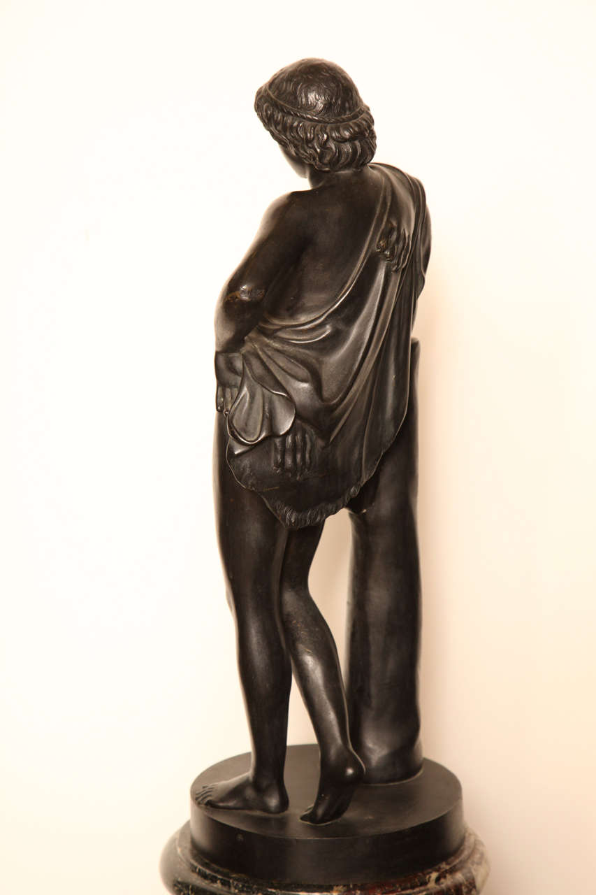 19th Century Bronze Youth on a Marble Base For Sale 2