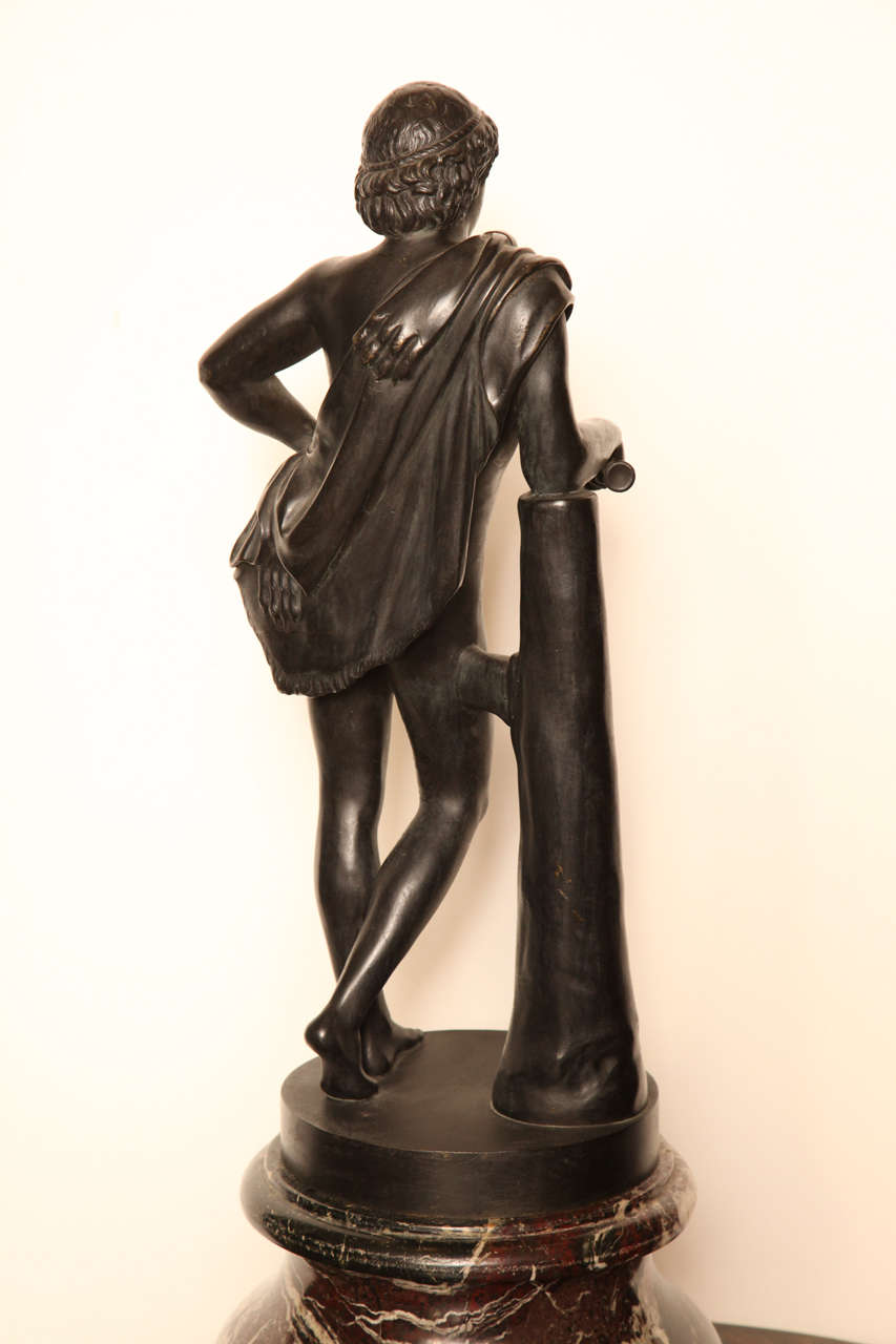 19th Century Bronze Youth on a Marble Base For Sale 3