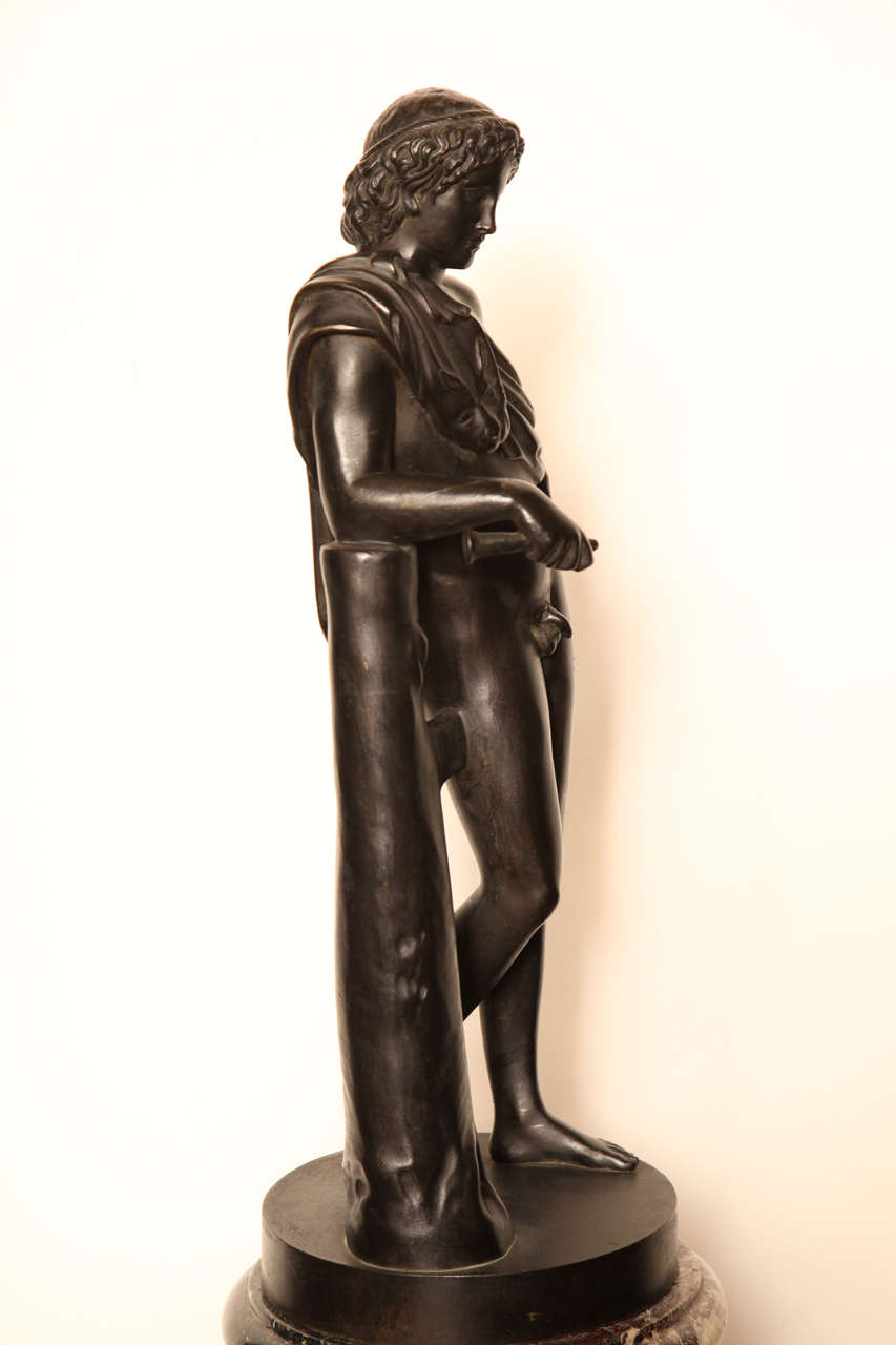 19th Century Bronze Youth on a Marble Base For Sale 4