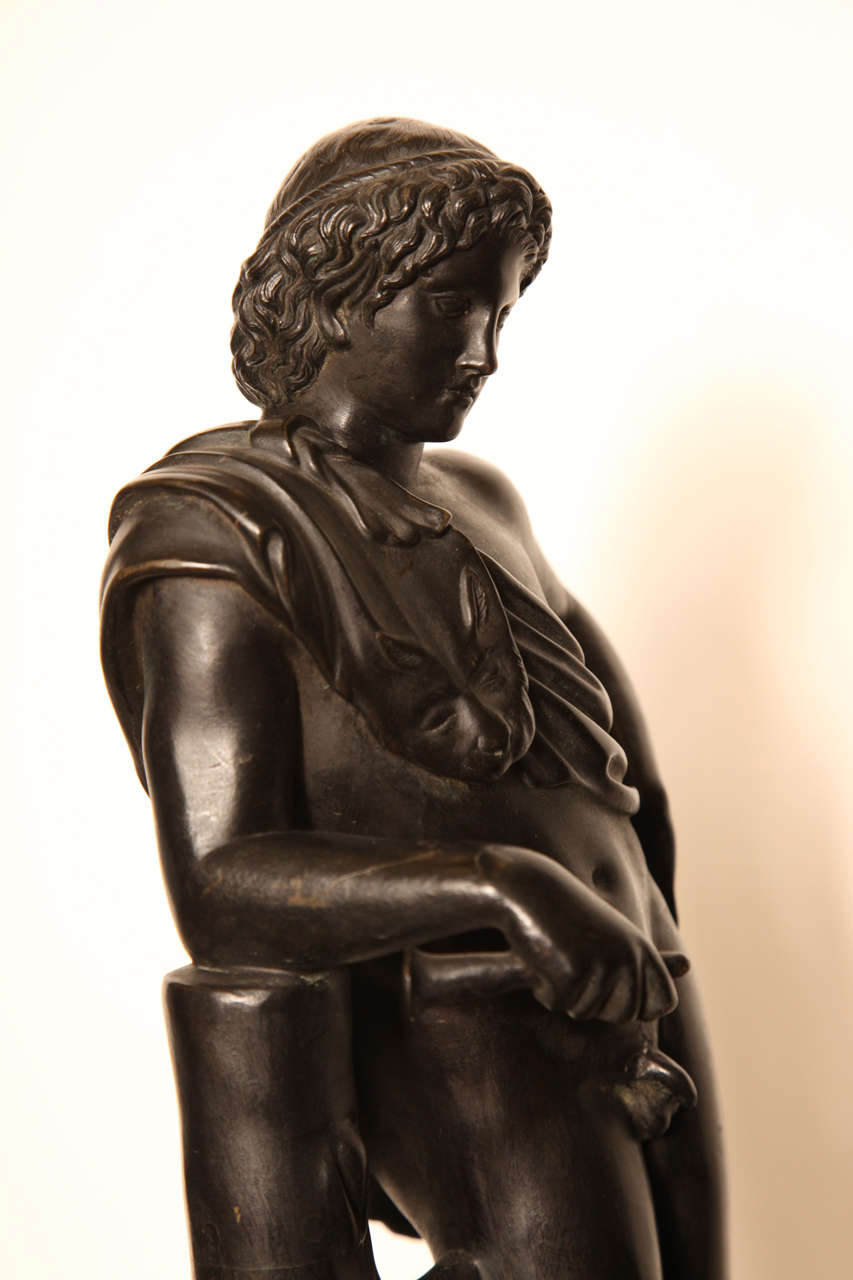 19th Century Bronze Youth on a Marble Base For Sale 5